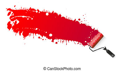 Paint roller - application of red paint using a paint roller