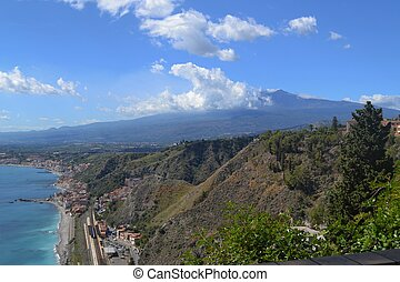 Coastline of Sicily and Mt. Etna - The coast of Sicily with...
