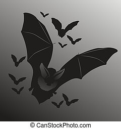Bats - illustration of flying bats in the dark