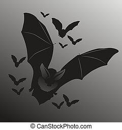 Bats - illustration of flying bats in the dark