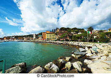 Ligurian coast in Italy - Santa Margherita Ligure town on...