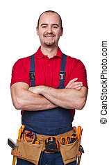 handyman portrair - portrait of caucasian handyman isolated...