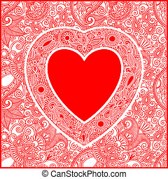 Valentin Day card with heart - hand draw ornate Valentin Day...