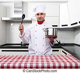 macho, cozinheiro, cozinha