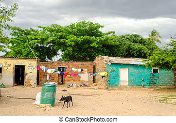 Small Shacks - Small and poor shacks in La Guajira, Colombia