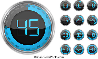 Digital Timer - Digital timers set, vector eps10...
