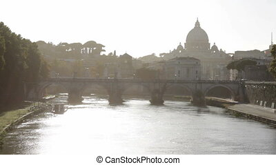 Tiber River San Pietro in the Haze - Hazy view of St....