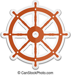 Ship Wheel Icon - Ship wheel sticker icon, vector eps10...