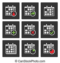 Calendar Icons Events, Progress, Delivery Vector