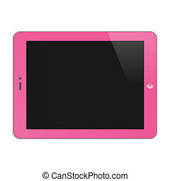 Realistic Concept Of Tablet PC With Blank Screen. Horizontal, Pink. Vector Illustration