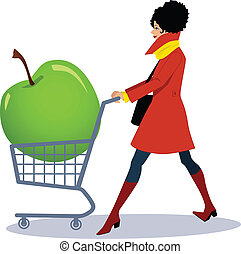 Healthy grocery shopping - Pretty woman in red coat pushing...