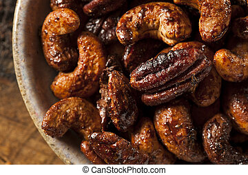 Brown Candied Caramelized Nuts with Cinnamon and Spices