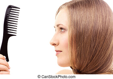 comb - bright picture of beautiful woman with comb
