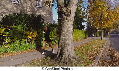 Running in Residential Area - Exercise run in a residential...