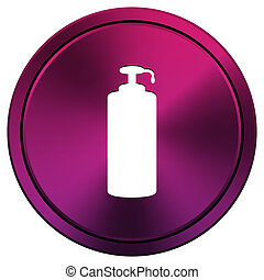 Soap icon - Metallic icon with white design on mauve...