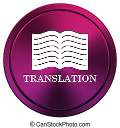 Translation book icon - Metallic icon with white design on...