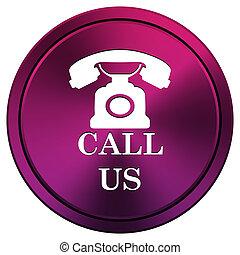 Call us icon - Metallic icon with white design on mauve...