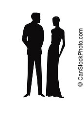 vintage couple in silhouette