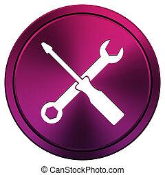 Tools icon - Metallic icon with white design on mauve...