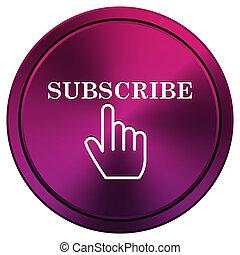 Subscribe icon - Metallic icon with white design on mauve...