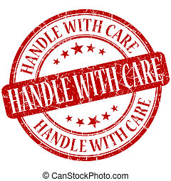 Handle with care grunge red round stamp