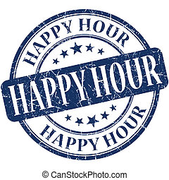 Happy hour grunge blue round stamp
