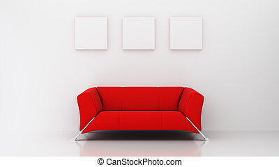 minimalist living room with red couch and three picture...