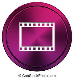 Photo icon - Metallic icon with white design on mauve...