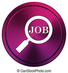 Search for job icon - Metallic icon with white design on...
