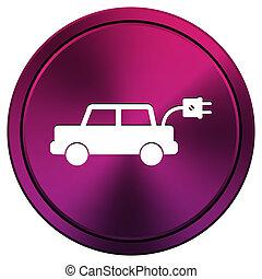 Electric car icon - Metallic icon with white design on mauve...