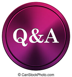 Q&A icon - Metallic icon with white design on mauve...