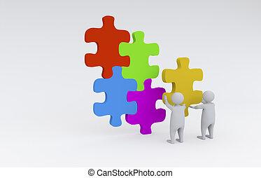 3D men with puzzle - 3D men assembling puzzle