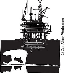 Arctic Drilling - Woodcut style image of a polar bear and an...