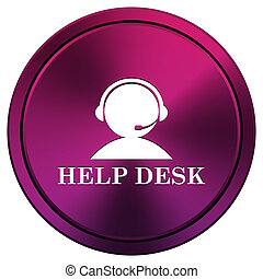 Helpdesk icon - Metallic icon with white design on mauve...