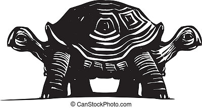 Double Turtle - Woodcut style image of a turtle with two...