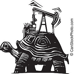 Oil Well Turtle - Woodcut style image of a turtle with an...