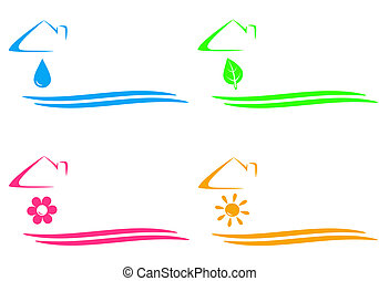 house icons with drop, sun, flower - colorful set of house...
