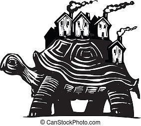 Housing Turtle - Woodcut style image of a turtle carrying a...