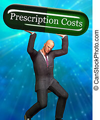 Prescription Costs - Man strains under Prescription Costs