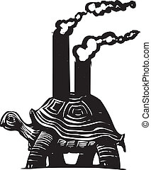 Smokestack Turtle - Woodcut style image of a turtle with...