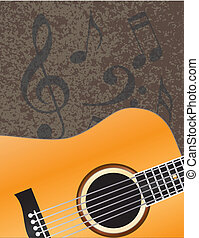 Acoustic Guitar with Musical Notes Background Illuustration