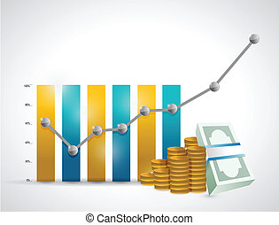 business graph and money illustration design over a white...