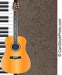 Acoustic Guitar and Piano Illustration - Acoustic Guitar and...