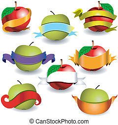 apples with ribbon banners - Collection of apples with...
