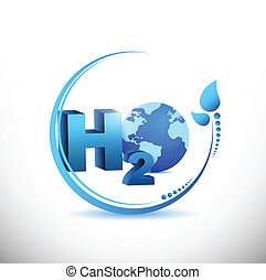 h2o illustration design over a white background