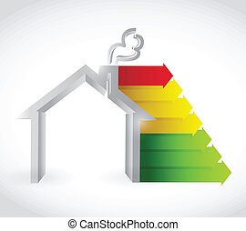 house and color graph. green, yellow and red. illustration...