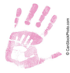 mother and son handprint illustration design over a white...