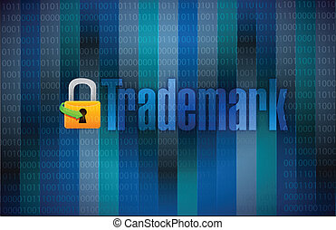 trademark binary background illustration design over binary...