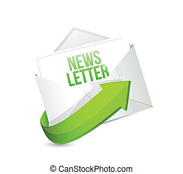 news letter mail or email illustration design over a white...