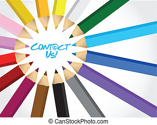 contact us message around a set of different